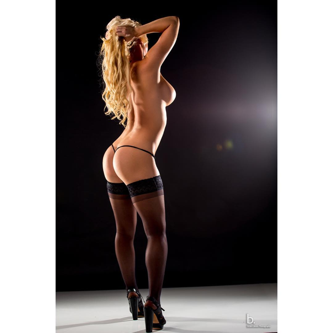 busty blonde model Jordan Miranda, topless sideboob, perfect booty in a thong, sexy stockings and high heels