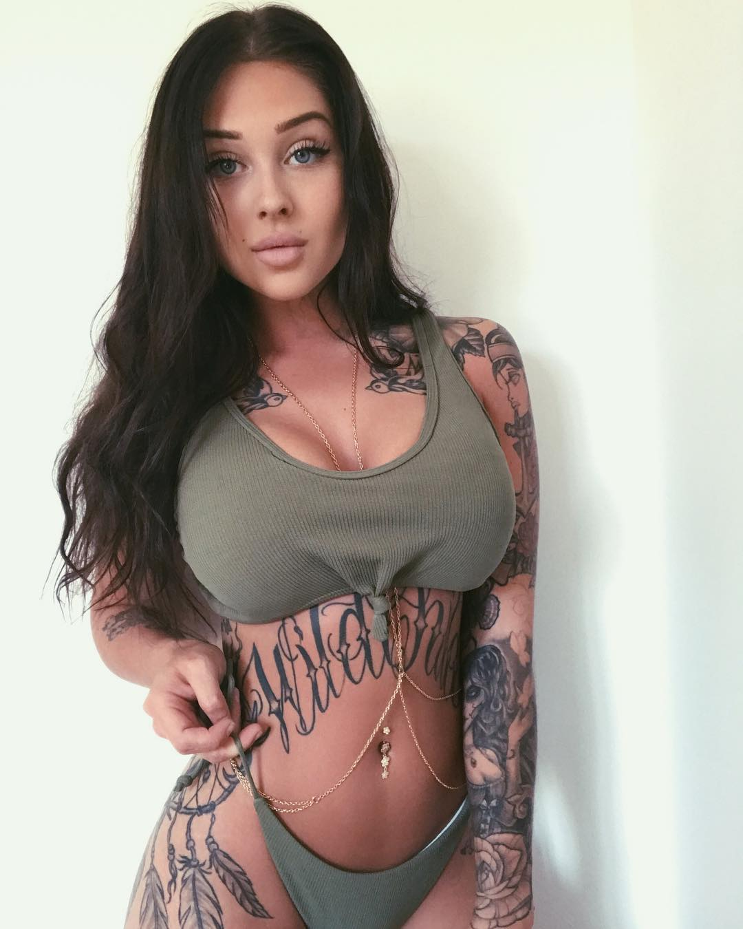 sexy inked girl Valerie Cossette - nice tits in a tank top